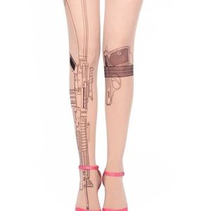 Accessories - Gun Print Nude Stockings